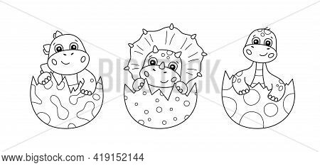 Cute Little Dinosaurs Hatches From An Eggs. Set Of Dino For Kid Coloring Book. Baby Triceratops, Bro