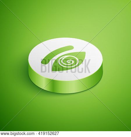 Isometric Hypnosis Icon Isolated On Green Background. Human Eye With Spiral Hypnotic Iris. White Cir