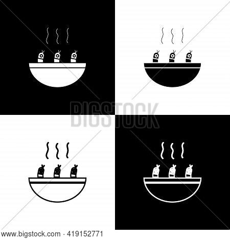 Set Soup With Shrimps Icon Isolated On Black And White Background. Tom Yum Kung Soup. Vector.