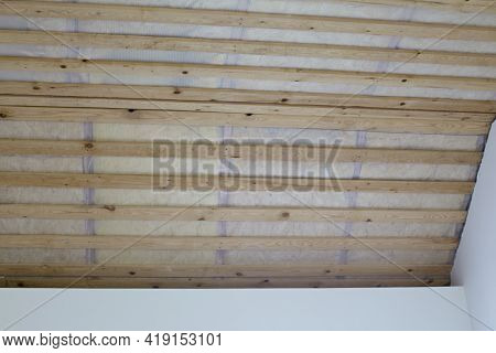 Wooden Ceiling Lathing. Insulation And Ceiling Lathing