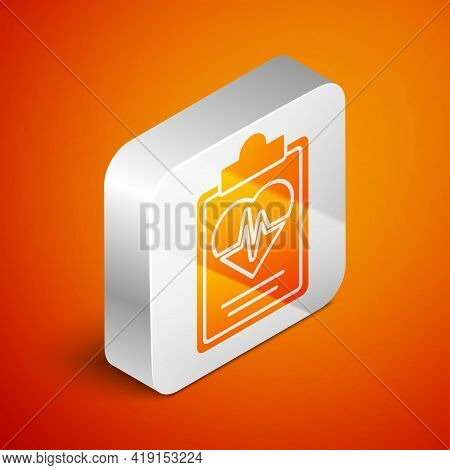 Isometric Health Insurance Icon Isolated On Orange Background. Patient Protection. Security, Safety,