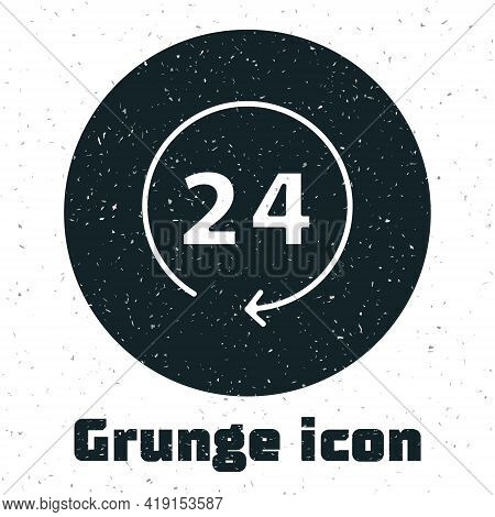 Grunge Clock 24 Hours Icon Isolated On White Background. All Day Cyclic Icon. 24 Hours Service Symbo