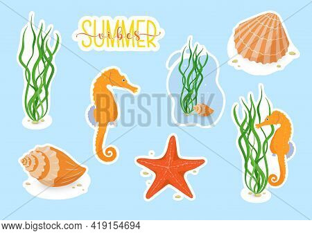 Vector Stickers Set With Ocean Or Sea Animals With White Border For Cutting. Cute Sea Horse, Starfis
