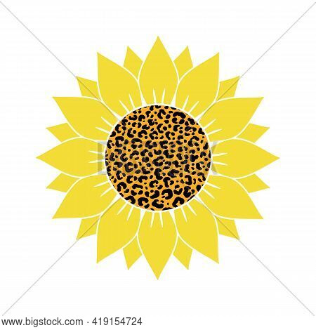 Vector Illustration Of Yellow Sunflower With Leopard Print Isolated On White Background. Bright Summ