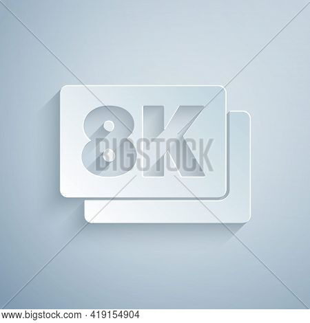 Paper Cut 8k Ultra Hd Icon Isolated On Grey Background. Paper Art Style. Vector