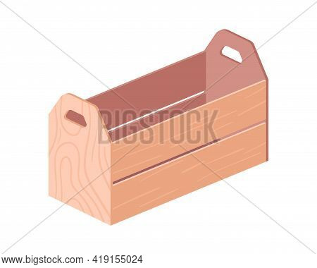 Wooden Box With Handles For Storage And Shipment. Crate From Wood, Planks Or Timber. Realistic Plywo