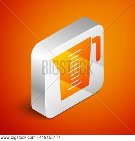 Isometric Measuring Cup To Measure Dry And Liquid Food Icon Isolated On Orange Background. Plastic G