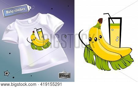 Vector Illustration Of Cartoon Fruits On A Children's T-shirt. Isolated Image Of A Banana With Eyes