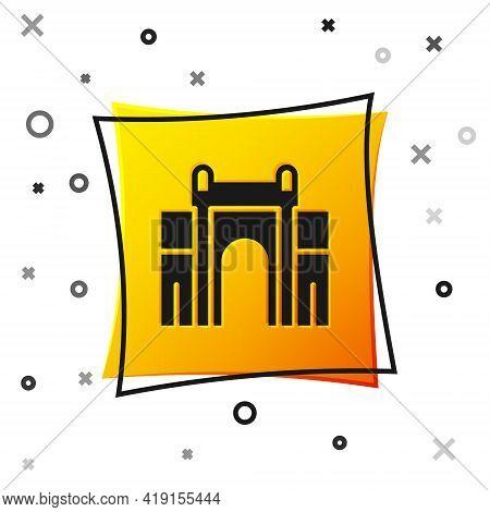 Black India Gate In New Delhi, India Icon Isolated On White Background. Gate Way Of India Mumbai. Ye