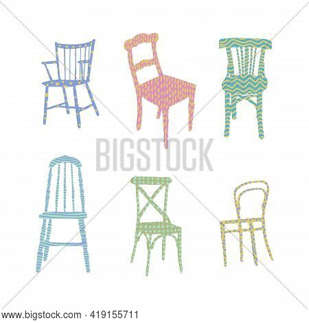 Trendy Flat Chairs Textured. Interior Design Illustration. Dinning And Living Room Chairs