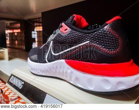 Nike Renew Elevate Sneakers With Soft Sole In Store 01.05.2021 Russia, Kazan, Khusaina Yamasheva Pr.