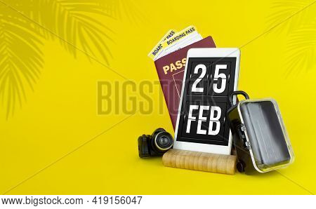 February 25th. Day 25 Of Month, Calendar Date. Mechanical Calendar Display On Your Smartphone. The C