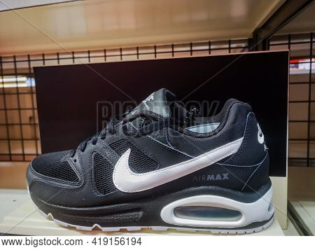 Black Men's Sneakers Air Max With Soft Soles In The Store 01.05.2021 Russia, Kazan, Khusain Yamashev