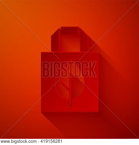Paper Cut Paper Shopping Bag With Recycle Icon Isolated On Red Background. Bag With Recycling Symbol