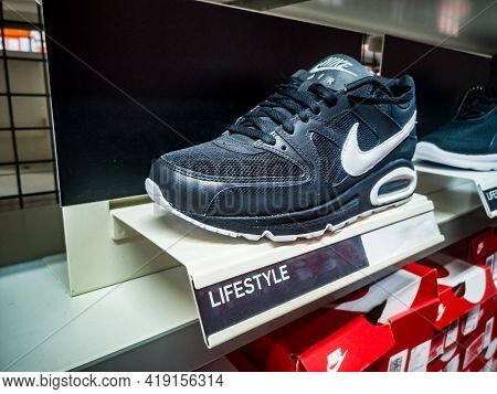 Black Men's Air Max Sneakers In A Clothing And Footwear Store 01.05.2021 Russia, Kazan, Khusain Yama