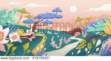 Magic Landscape Of Fantasy World With Imaginary Plants. Panorama Of Fairy Tale Planet With Whimsical