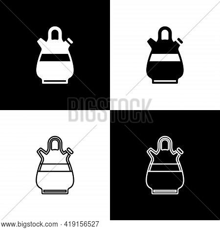 Set Sangria Pitcher Icon Isolated On Black And White Background. Traditional Spanish Drink. Vector