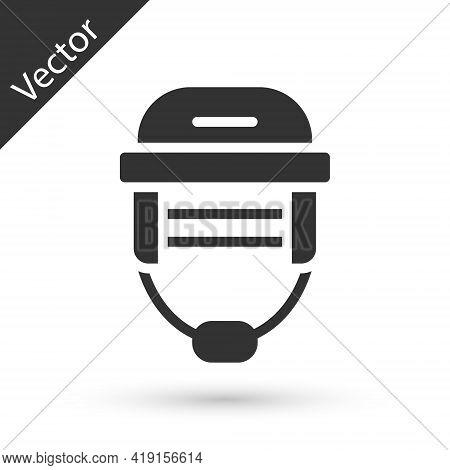 Grey Hockey Helmet Icon Isolated On White Background. Vector