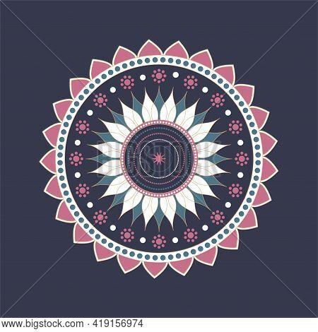 Mandala Ornament Vector. A Symmetrical Geometry Color Flower. Ethnic Draw