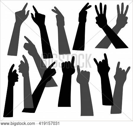 Vector Illustration Of Silhouettes Of Hands With Different Gestures. Elements For Decoration.