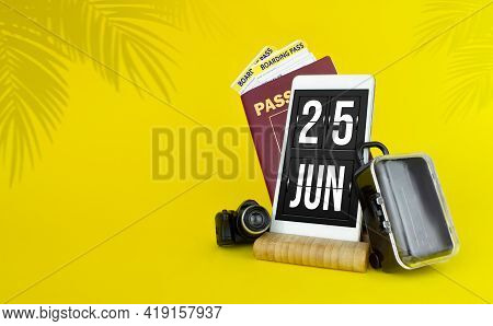 June 25th. Day 25 Of Month, Calendar Date. Mechanical Calendar Display On Your Smartphone. The Conce