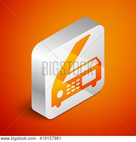 Isometric Scanner Icon Isolated On Orange Background. Scan Document, Paper Copy, Print Office Scanne