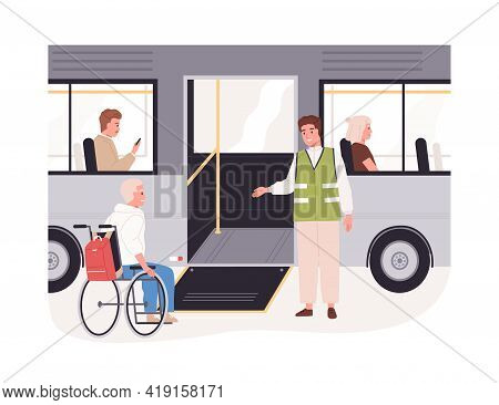 Disabled Passenger In Wheelchair Getting On Bus With Help Of Ramp. People In Wheel Chair In Friendly