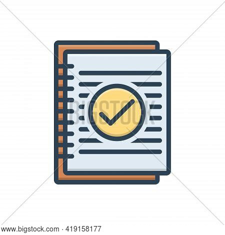 Color Illustration Icon For Summary Resume Application Infographic Document Information