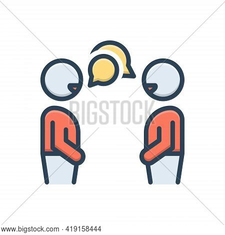 Color Illustration Icon For Conversation Chitchat Gossip Discussion Chat Talking