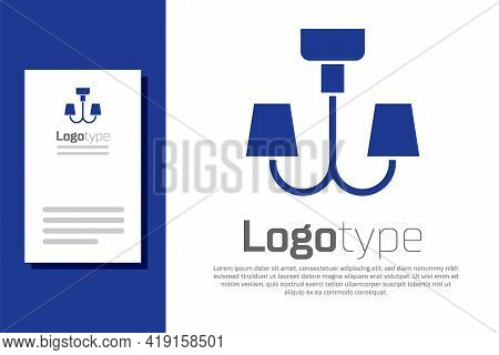 Blue Chandelier Icon Isolated On White Background. Logo Design Template Element. Vector