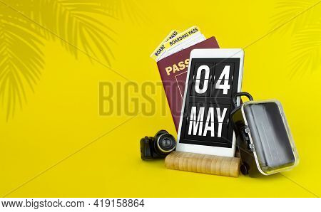 May 4th. Day 4 Of Month, Calendar Date. Mechanical Calendar Display On Your Smartphone. The Concept