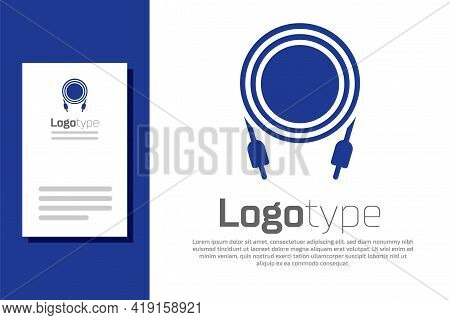 Blue Audio Jack Icon Isolated On White Background. Audio Cable For Connection Sound Equipment. Plug