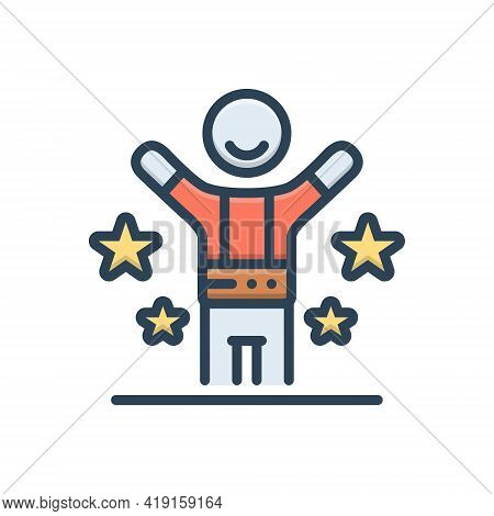 Color Illustration Icon For Happy Fain Blissful Gladsome Hilarious Jubilant