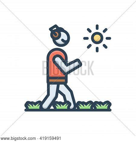 Color Illustration Icon For Walking Wander Rove Roam Peregrinate Morning-walk