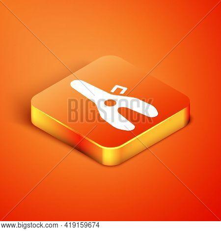 Isometric Bicycle Seat Icon Isolated On Orange Background. Bicycle Saddle. Vector