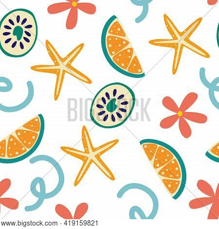 Seamless Summer Pattern With Lemon Slices And Flowers. Summer Vibrant Design. Exotic Tropical Fruit.