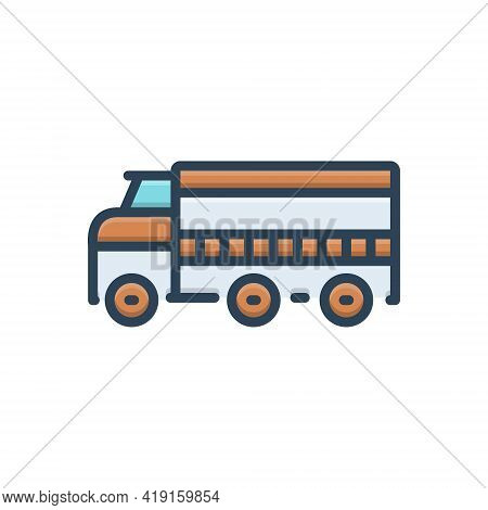 Color Illustration Icon For Transport Carriage Vehicle Conveyance Truck