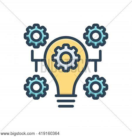 Color Illustration Icon For Innovation Bulb Concept Idea Inspiration Customize