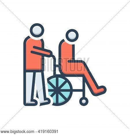 Color Illustration Icon For Caregivers Caretaker Disability Wheelchair Nurses