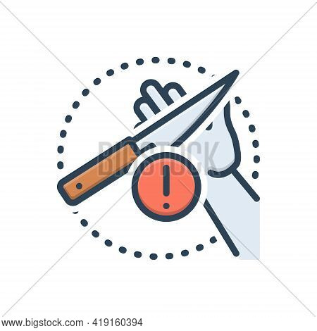 Color Illustration Icon For Carefulness Cautious Knife Careless Negligent Alert Warning Admonition