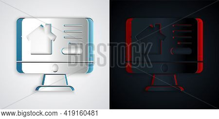 Paper Cut Online Real Estate House On Monitor Icon Isolated On Grey And Black Background. Home Loan
