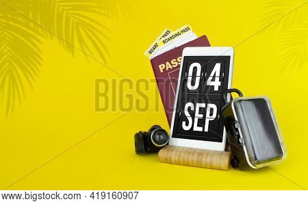 September 4th. Day 4 Of Month, Calendar Date. Mechanical Calendar Display On Your Smartphone. The Co