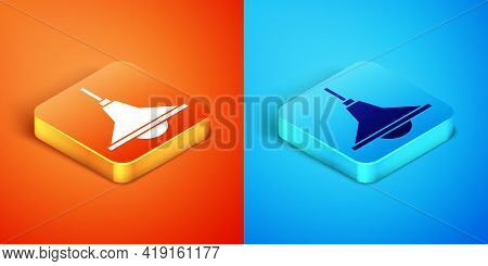 Isometric Chandelier Icon Isolated On Orange And Blue Background. Vector