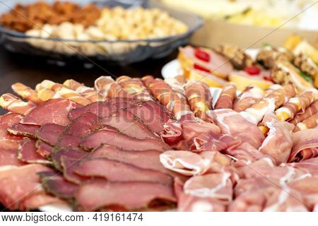 Assorted Cold Meats On A Plate Ready To Eat