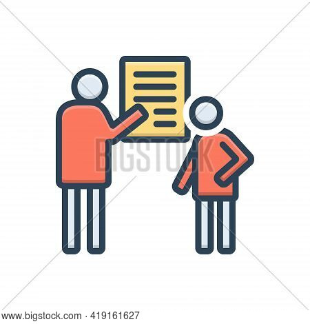 Color Illustration Icon For Debrief Communication Counseling Consultation Investigation Inquiry
