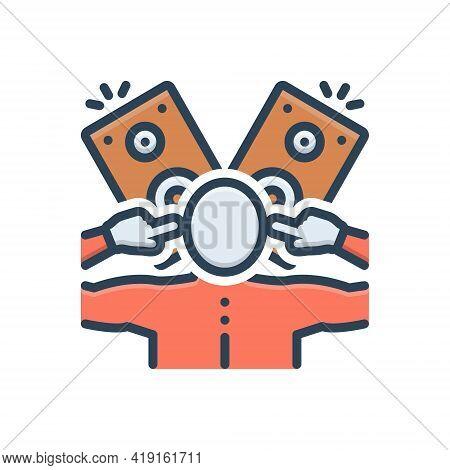 Color Illustration Icon For Crackling Loud Sound Music-system Person Noise Speaker Subwoofer
