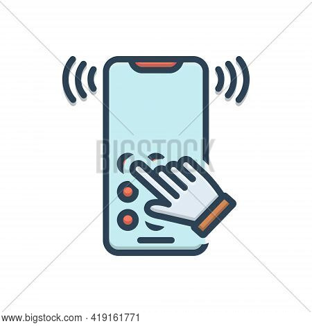 Color Illustration Icon For Dialtone Telecommunication Telephone Answering  Ring
