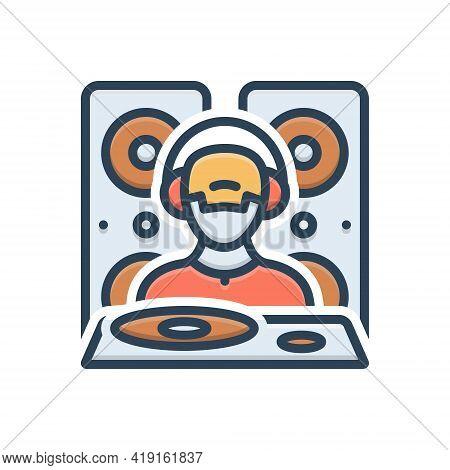 Color Illustration Icon For Dejaying People Disco Music Dj Adolescent Nightclub