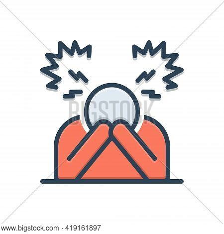 Color Illustration Icon For Despair Disappointment Frustration Hopelessness Discouragement Depressio