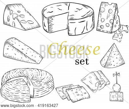 Cheese Sketch. Different Types Of Cheese. Dairy Product In Chunks, Slices And Whole Heads. Vector. G
